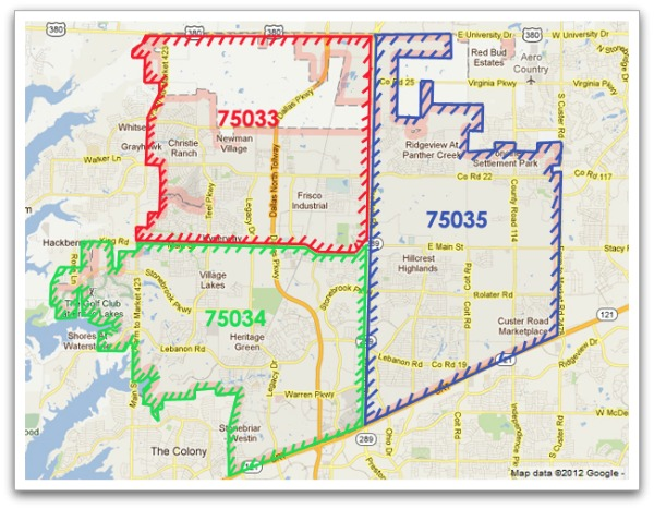 Frisco Texas Zip Code Map